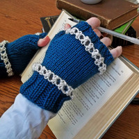 Teal and White Fingerless Gloves - One Size Fits Most Lace Stripe Knit Mittens