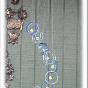 Recycled wine bottle wind chime, Juniper wood, light and dark blue glass, crystal beads, circle glass wind chime