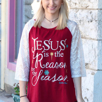 Jesus is the Reason for the Season Glitter Lace Sleeve Raglan - KIDS + ADULTS