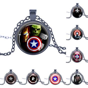 Marvel Avengers Superheroes Ironman Captain America Necklace Toy Spiderman Spider man Thor Iron man Vision Metal Pendant Toys