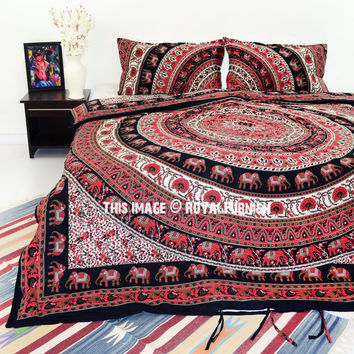 Red  Black Elephant Ring Mandala Boho Chic Duvet Cover Set with 2 Pillow Covers on RoyalFurnish.com