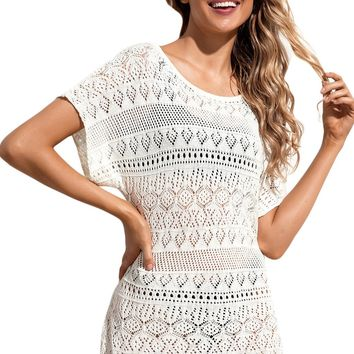 Z| Chicloth White Hollow Lace Crochet Short Cover Up Dress