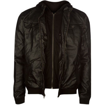 Chor Creeper Mens Faux Leather Jacket Black  In Sizes
