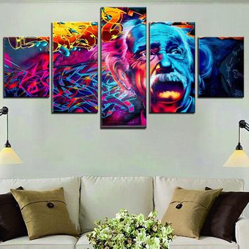 Einstein Abstract Street Art 5-Piece Wall Art Canvas