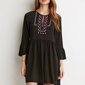 Embroidered Bib Babydoll Dress