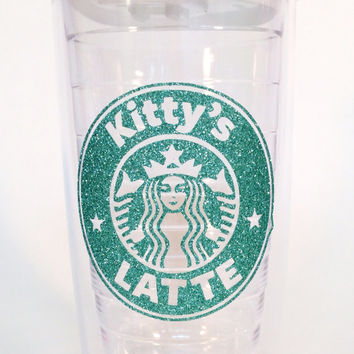 Personalized Starbucks Latte 16 oz.  or 24 oz. Glitter Tumbler for Hot or Cold Beverages.