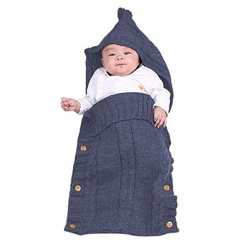 Baby Winter Sweater Blanket Baby Swaddle Wrap Newborn Infant Girls Boys Knitting Crochet Cotton Blended Sleeping Bag