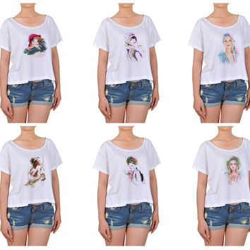 Girl Potrait painting Cotton Printed Croptop WTS_08