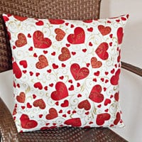 Hearts Valentine Pillow Cover Cushion Love Red White Gold Swirls Decorative 18x18
