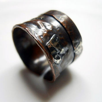 Weathered Copper and Fine Silver Wide Band Relic by patinaware