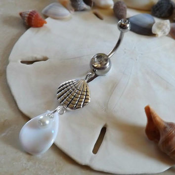 Sea Shell Belly Button Ring With Shell and Pearls Navel Jewelry