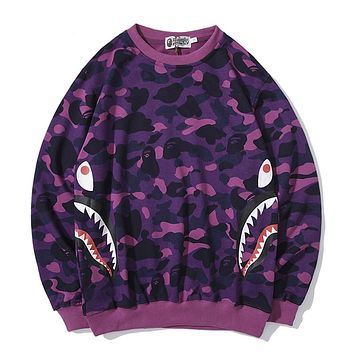 BAPE hot selling casual couple printed hoodie camouflage flanks shark head printed pure cotton wool circle collar hoodie #2