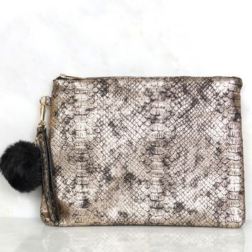 For Goodness Snakeskin Clutch Gold