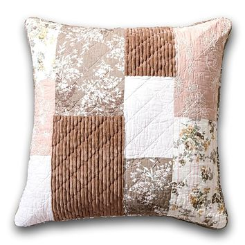 "DaDa Bedding Patchwork Dusty Rose Mauve Pink & Brown Floral Euro Pillow Sham Cover, 26"" x 26"""