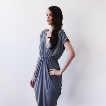 September SALE Urban gray bridesmaids maxi gown, Maxi short sleeves grey gown