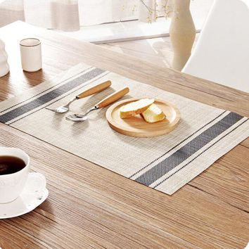 Weave Placemat Fashion Pvc Dining Table Mat Disc Pads Bowl Pad Coasters Waterproof Table Cloth Pad Slip-Resistant Pad