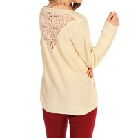 Ivory/Gold Crochet Back Sweater