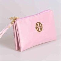 Portable cosmetic bag three layers multifunctional change mobile phone to receive package (10-color) Pink