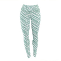 "Heidi Jennings ""Painted Chevron"" Teal Green Yoga Leggings"