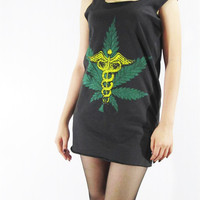 WEED Caduceus Hermes Greek Mercury Roman Staff Classic Design Shirts Back Shirt Women Indie Tank Top Tunic Punk T-Shirt Rock T-Shirt Size M