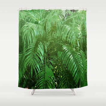 Jungle Palms 3 - Shower Curtain, Green Palm Tree Fronds Backdrop, Beach Surf Boho Chic Dorm Apartment Style Bathroom Tub Curtain. In 71x74