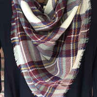 Plaid Blanket Scarf Cinnamon