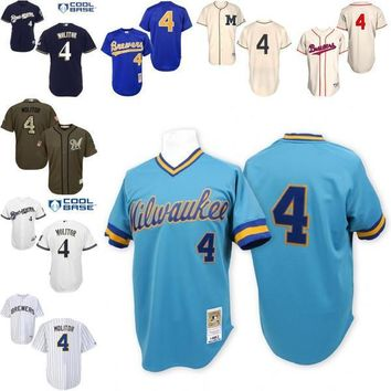 Blue Throwback Paul Molitor Replica Jersey , Men's #4 Mitchell And Ness Milwaukee Brewers