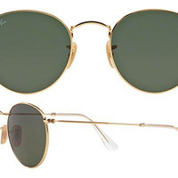 Ray Ban Aviator RB3447 Round Sunglasses 001 Gold With G15 Green Lens