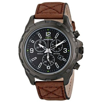 Timex T49986 Men's Expedition Indiglo Black Dial Brown Leather Strap Chronograph Watch