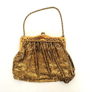Vintage 1920s Whiting & Davis Gold Mesh Evening Bag Purse Art Deco Mesh Clutch Purse Flapper Bag Chain Link Bag Great Gatsby Antique