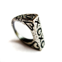 Hand carved Sterling Silver Cast Ring with XOXO and Hearts | Rachel Pfeffer