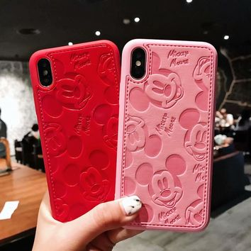 Mickey Mouse Case For iPhone XS XS MAX XR X 7 8 Plus 6 6s Plus Case Leather Superman Pink Panther Official Cover Fundas Coque