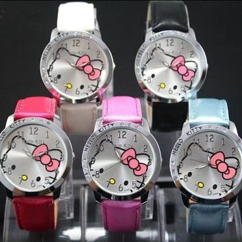 Hot Sales Cute Hello Kitty Watches Children Girls Women Crystal Dress Quartz WristWatch Mix Color
