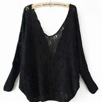 Black Sexy Sweater with Lace Back ST011H