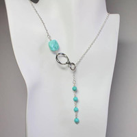 Turquoise Lariat Necklace, Beaded Turquoise Y Necklace, Silver Infinity Necklace, Turquoise Drop, December Birthstone