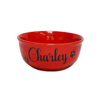 Custom Dog  & Pet Bowl, Classic Stoneware.  Personalized  With Your Pet's Name. Choose Font and Font Color. Any Occasion Dog Lover Gift.