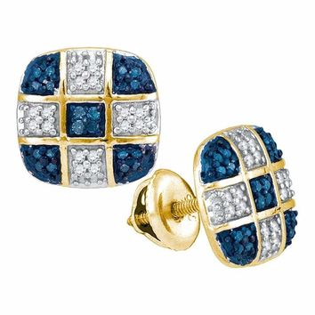 10kt Yellow Gold Women's Round Blue Color Enhanced Diamond Checkered Stud Earrings 1-4 Cttw - FREE Shipping (US/CAN)