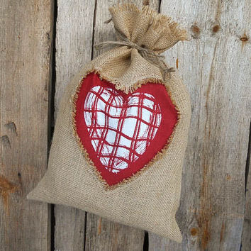 Valentines Day Decor Valentines Gift Bag Wedding Favor Bags Burlap Gift Bag Gift Sack Burlap Decor Gift Bag Rustic Decor Burlap