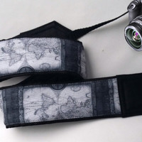 Map Camera Strap. Vintage Camera Strap. Dslr Camera Strap. Camera Accessories