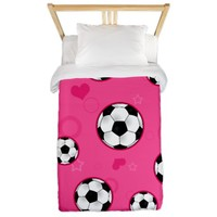 Cute Soccer Ball Print - Pink Twin Duvet