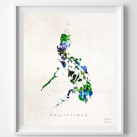 Philippines Map, Asia, Print, Manila, Watercolor, Home Town, Poster, Country, Wall Decor, Painting, World, Living Room, Gift