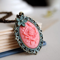 Blooming Pink Rose Flower Plastic Cameo Cabochon Blue Green  Patina Antiqued Bronze Necklace. Vintage Style. Shabby Chick. French Country.