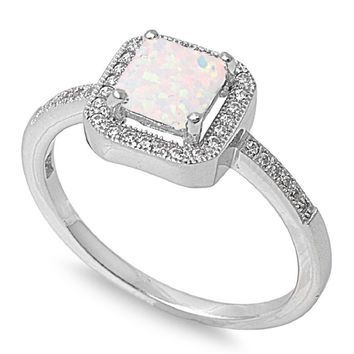 Sterling Silver Princess Halo 9MM White Lab Opal Ring