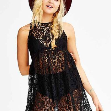 Oh My Love Lace Smock Dress- Black