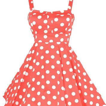 Ixia Women's Polka Dot Fold Over Pinup Dress