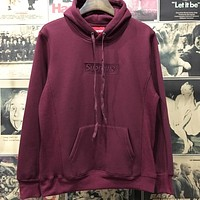 """""""Supreme"""" Couple Casual Letter Print Long Sleeve hooded Pullover Sweatshirt Top Sweater hoodie Wine Red"""
