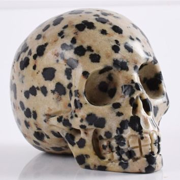 Skull Skulls Halloween Fall 2 inch dalmatian  statue natural crystal mineral quartz stone  figurine Hand carved bone feng shui healing collection Calavera
