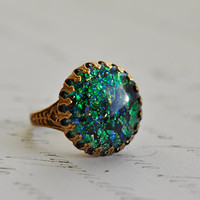 Emerald Forest Ring - Vintage glass fire Opal Prong set - Adjustable Ring