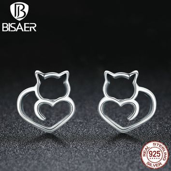 925 Sterling Silver Adorable Cat & Heart Small Stud Earrings