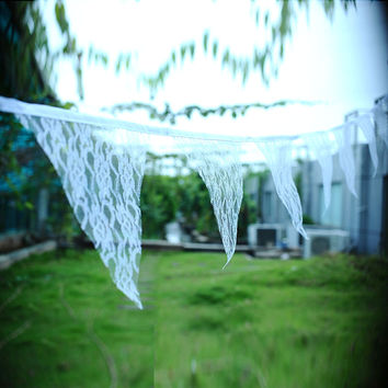 2.9m Vintage White Lace Hessian Bunting Banner Burlap Flags Garden kindergarten Party Wedding Supply Decor Props 11 Flags